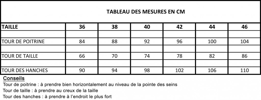 tableau des mesures en cm