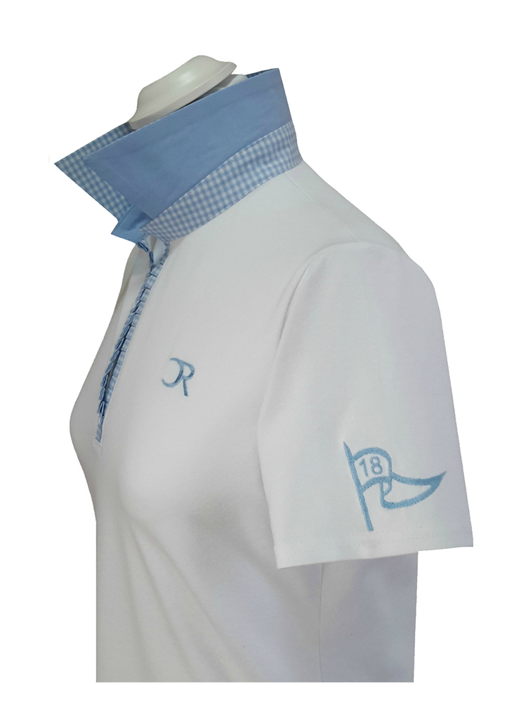 Polo Vichy bleu manches courtes vue côté zoom