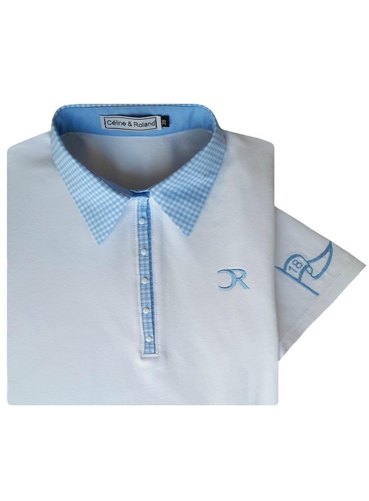 Polo Vichy bleu manches courtes vue plié