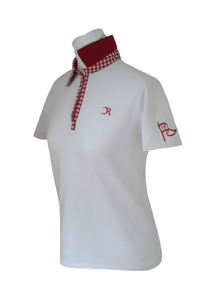 Polo Vichy rouge manches courtes vue devant