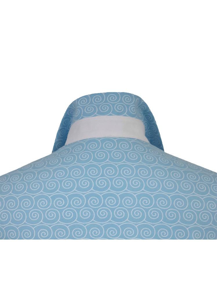 Polo spirale bleu manches courtes détail dos
