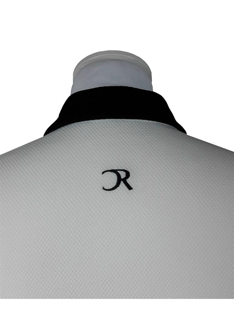 Polo creme lignes noires manches longues dos